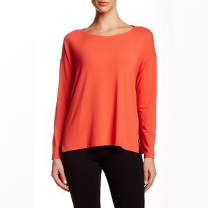 Eileen Fisher Boxy Orange Boatneck Long Sleeve Tee